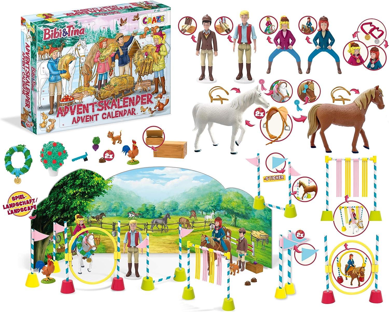 CRAZE 24676 Adventskalender BIBI & Tina Weihnachtskalender B&T für Mädchen Spielzeugkalender, kreative Inhalte, Tolle Überraschungen