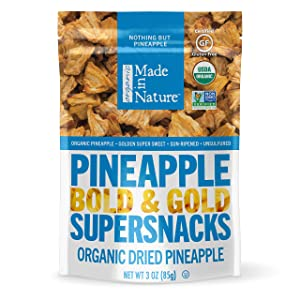 Made In Nature Organic Dried Fruit, Pineapples, 3oz Bags (6 Count) – Non-GMO, Unsulfured Vegan Snack