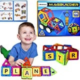 Magbuilder STEM Build and Play Toy | 66 pcs Magnetic Blocks, Letters and Wheels Gift Set [See Video] Best Educational Learning Present for Toddlers, Preschool Kids Age 3, 4, 5, 6 year old Boys, Girls