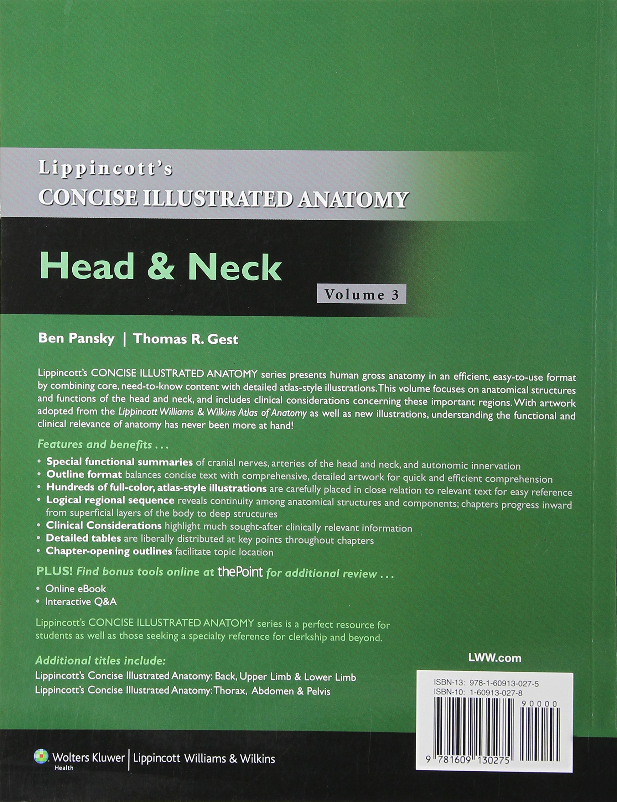 Lippincott\'s Concise Illustrated Anatomy : Head and Neck: Pansky ...