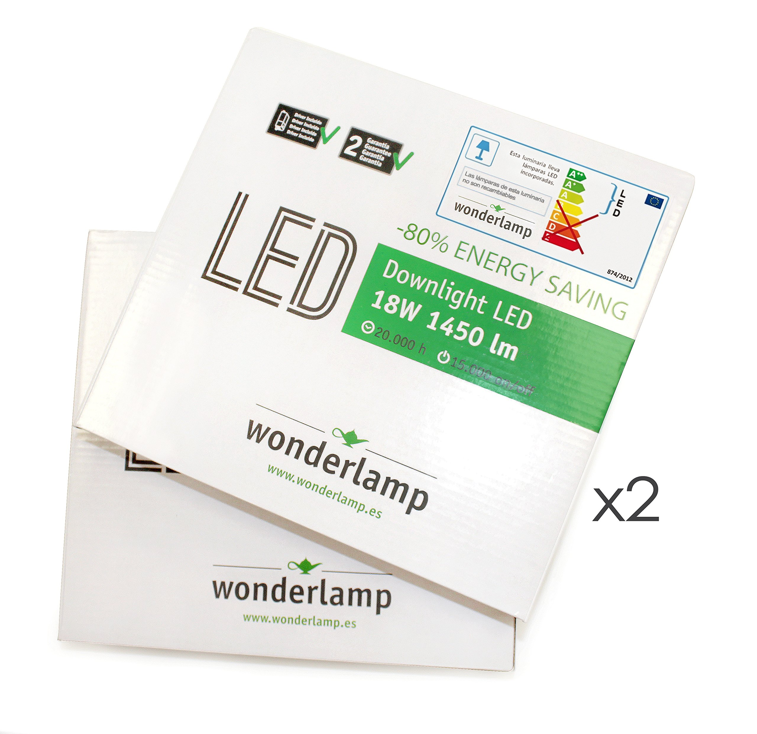 Wonderlamp W-E000048 - Pack 2 x Downlight LED extraplano cuadrado blanco, iluminacion led 18W (1450 lm), 6000K (luz fría). Plafón de techo.