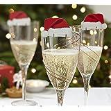 Lustige Weihnachtsdeko für Gläser / Weihnachtsmannmützen - Tischdekoration aus Karton x 10 - Party/Weihnachtsfeier - Weihnachtsfreude