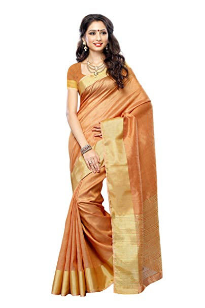 cf3634c95f Mimosa Women's Tassar Silk Saree With Blouse Piece (2085-Chan,Chandan,Free  Size): Amazon.in: Clothing & Accessories