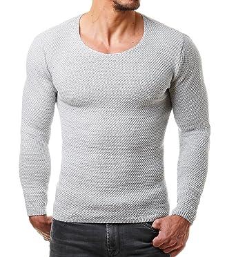 EightyFive Men s Knitted Pullover Fine Knitted Black White Grey Grey Beige  EF1402 - Grey aed8112dbb