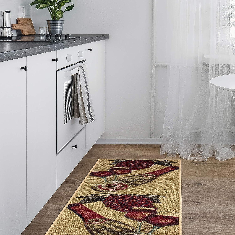 Amazon Com Ottomanson Siesta Collection Design Non Slip Runner Rug 20 X 59 X59 Beige Kitchen Wine Furniture Decor