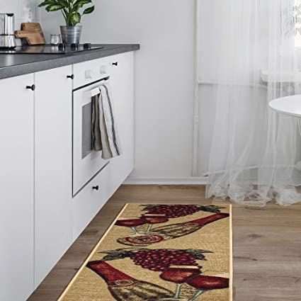 Home Garden Wine Grapes X Large Textile Kitchen Runner Rug Nonskid Back 20 X 59 Otto Rugs Carpets