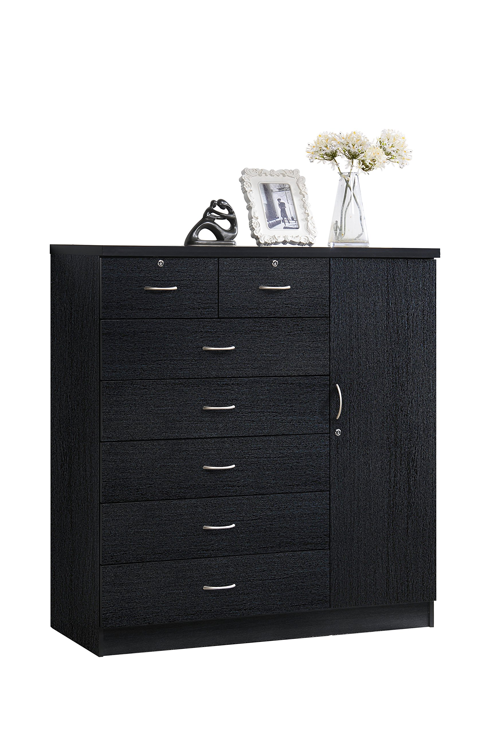 Hodedah 7 Drawer Jumbo Chest, Five Large Drawers, Two Smaller Drawers with Two Lock, Hanging Rod, and Three Shelves, Black by HODEDAH IMPORT