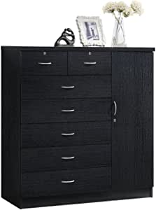 Amazon Com Hodedah 7 Drawer Jumbo Chest Five Large Drawers Two Smaller Drawers With Two Lock Hanging Rod And Three Shelves Black Furniture Decor