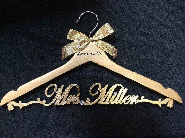 Bride dress hanger gold Personalized, Custom Mrs. hanger