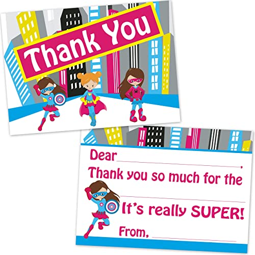 Girls Superhero Birthday Fill In Thank You Cards (10 Count with Envelopes)
