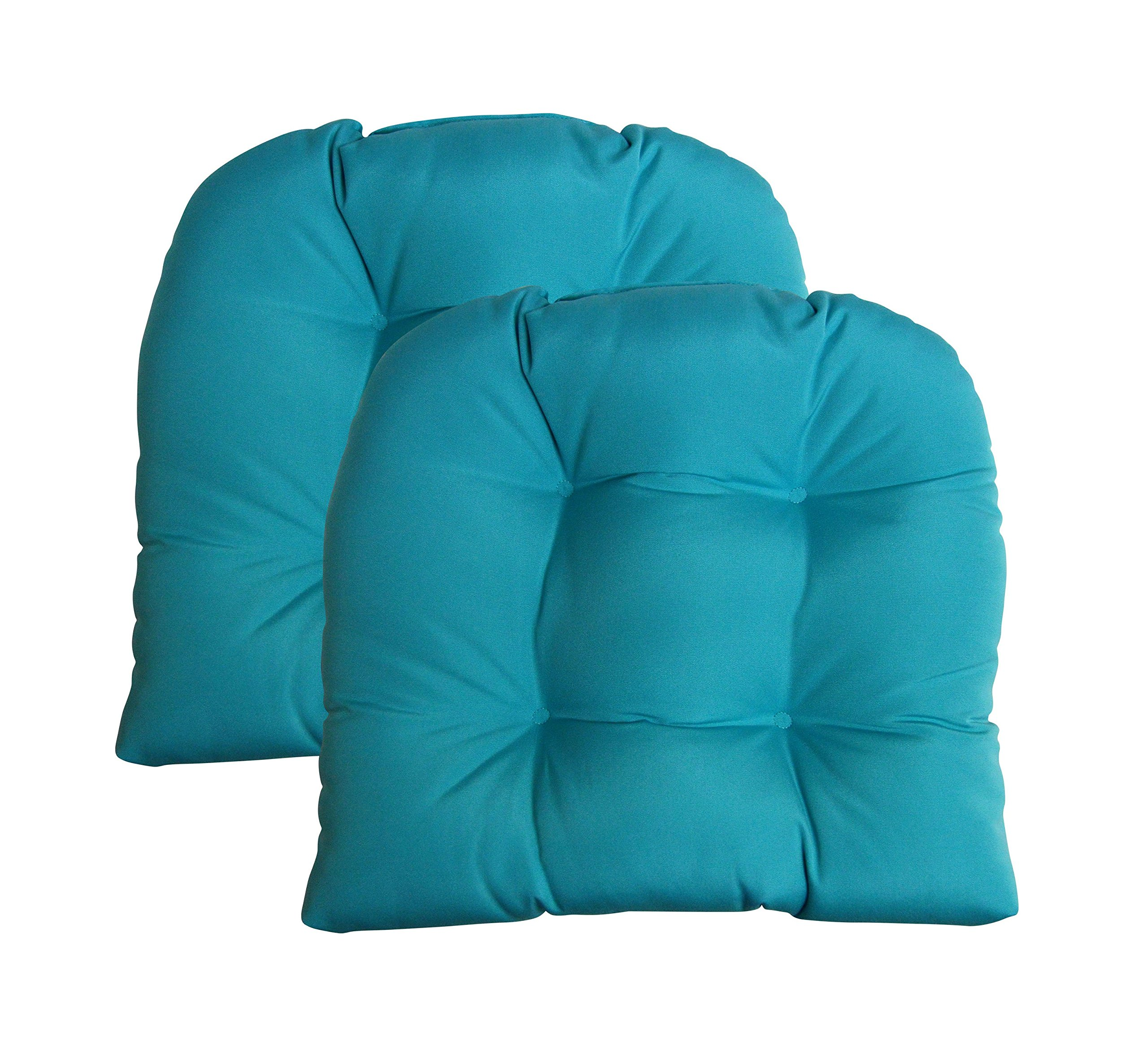 Set of 2 - Universal Tufted U-shape Cushions for Wicker Chair Seat - Sunbrella Canvas Aruba / Turquoise (1125)