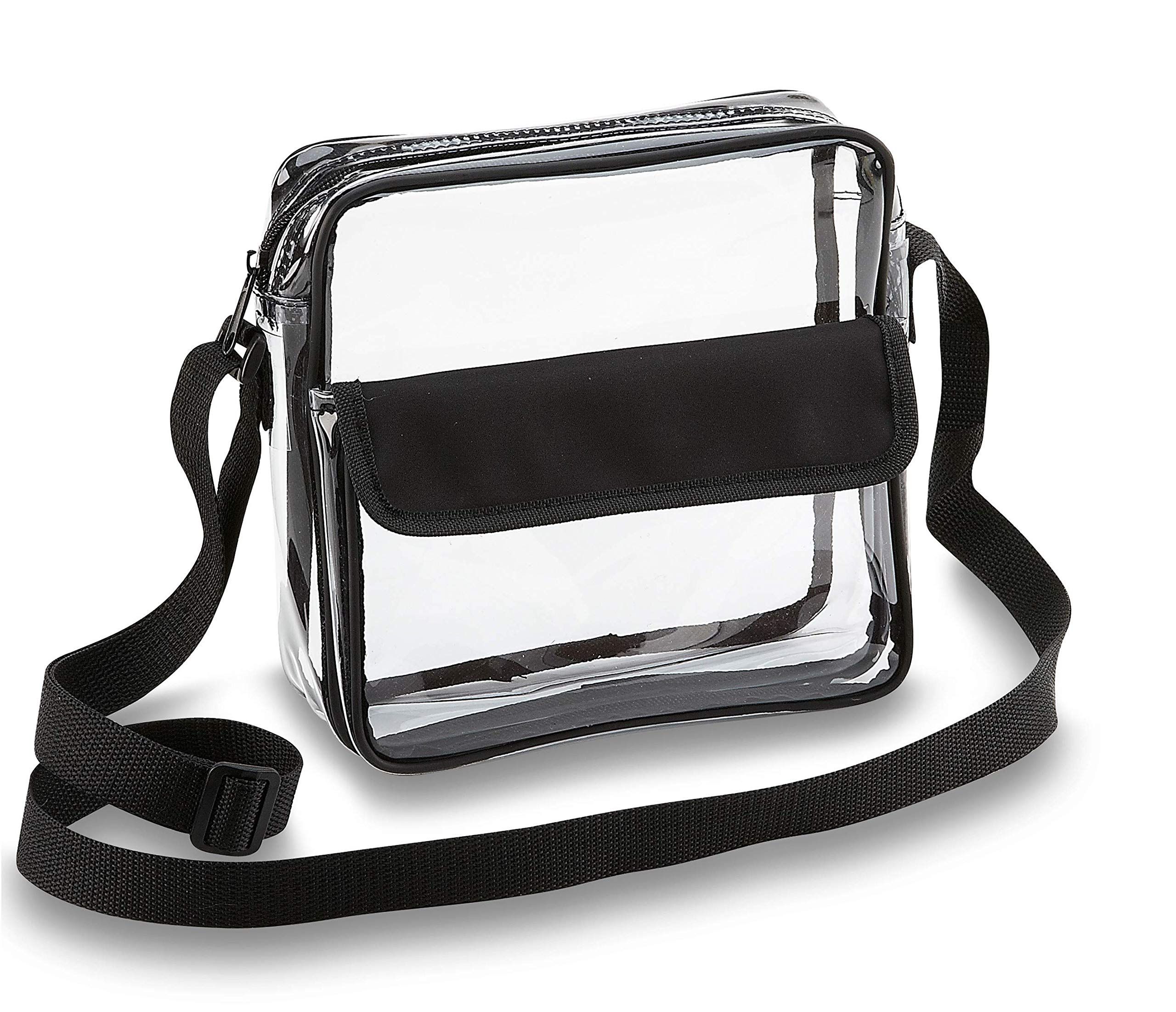 Clear Crossbody Messenger Shoulder Bag with Adjustable Strap NFL Stadium Approved Transparent Purse (Black) by Clear Handbags & More