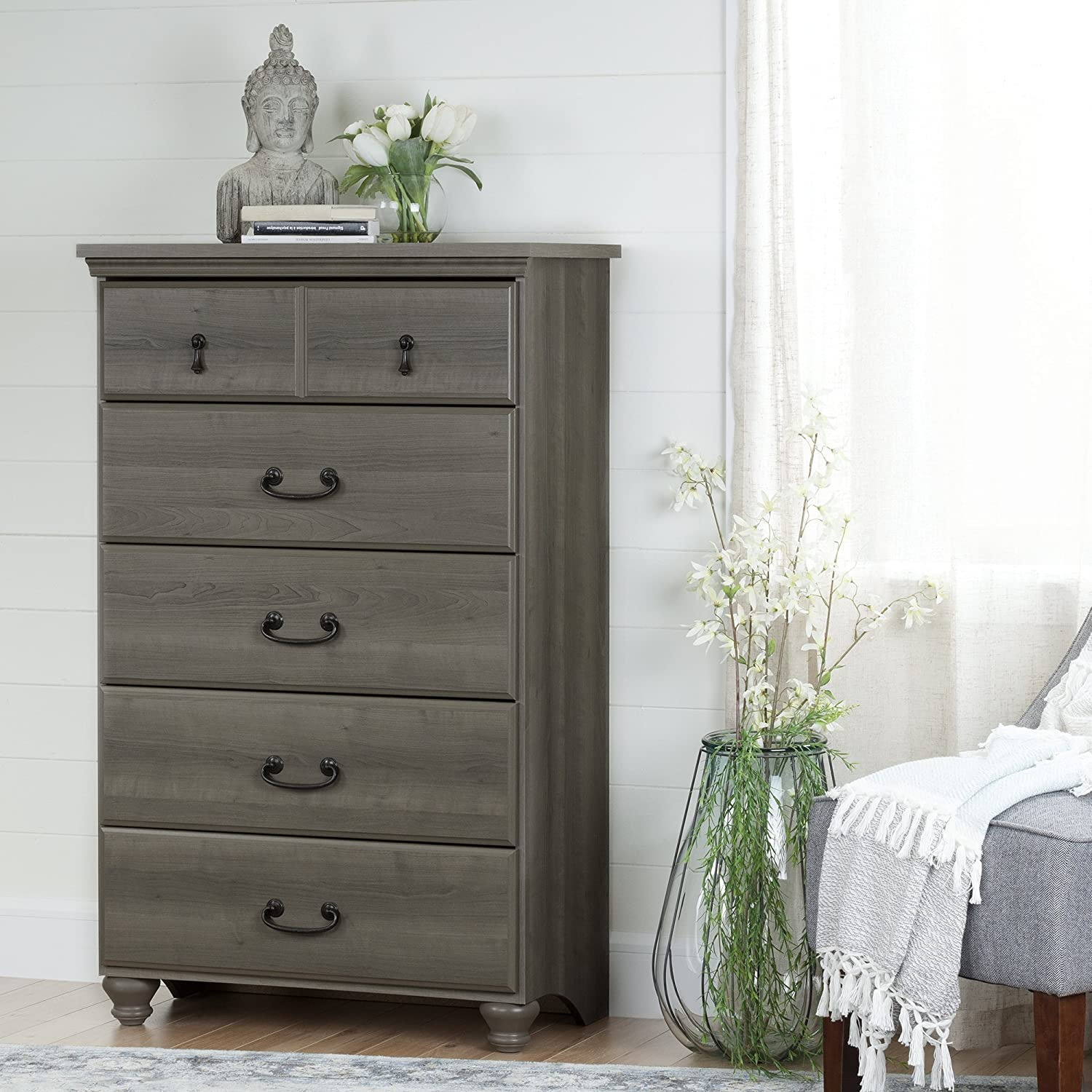Amazon.com: South Shore Noble 5-Drawer Pecho arce, Gray ...