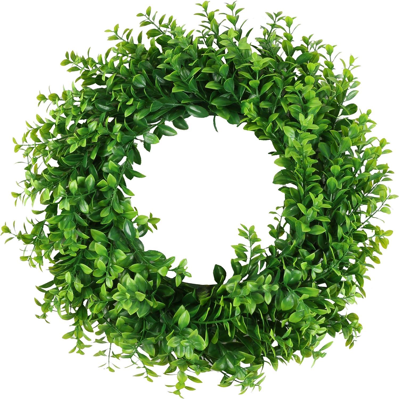 Homcomodar Corona de eucalipto Artificial de Hojas Verdes para Colgar en la Puerta Delantera, Pared, Ventana, decoración de Bodas y Fiestas, plástico, Estilo-1, 16 Pulgadas