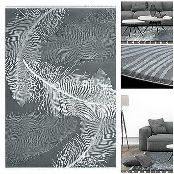 Exotischer Luxus Teppich 3302 UE Mit Federn In 3D Optik Und Glanz In Grau  Anthrazit |