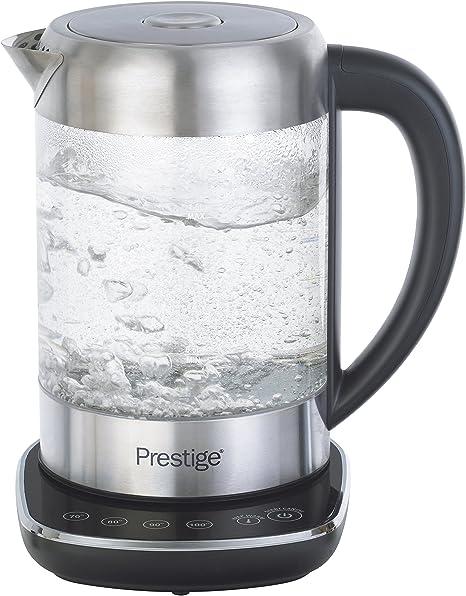 Prestige 59896 2 in 1 Glass Kettle with Digital Base, 3000 W, 1.5 Litre, Transparent