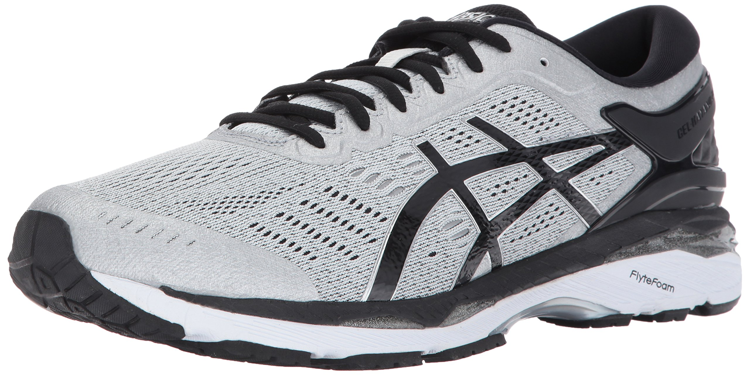 ASICS Men's Gel-Kayano 24 Running Shoe, Silver/Black/Mid Grey, 11.5 Medium US