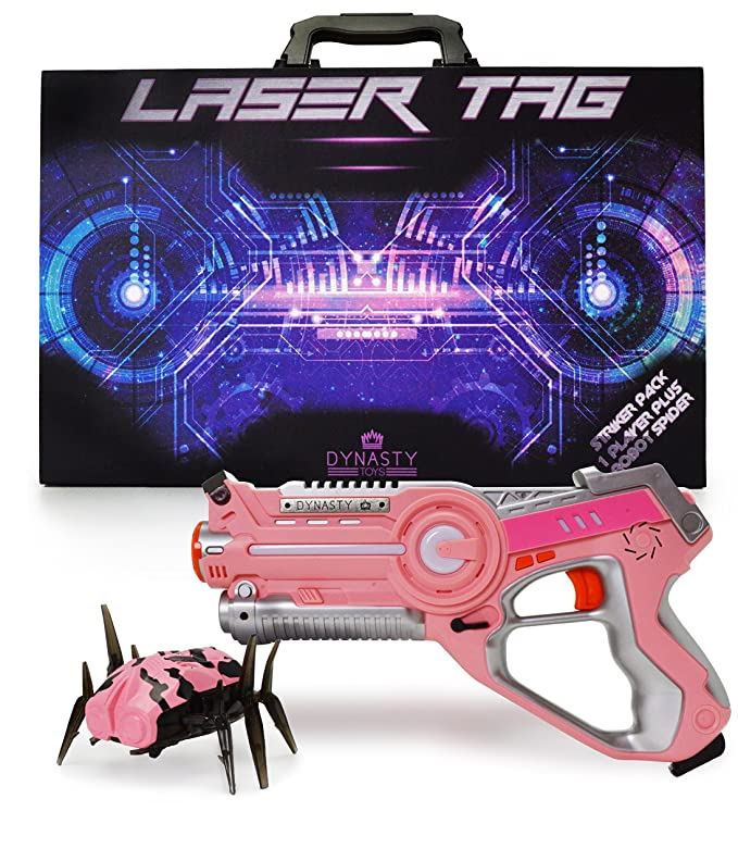 DYNASTY TOYS Girls Toys Pink Laser Tag Blaster and Flipping Robot Bug/Spider Target - Perfect Night Time Kids Sleepover Games