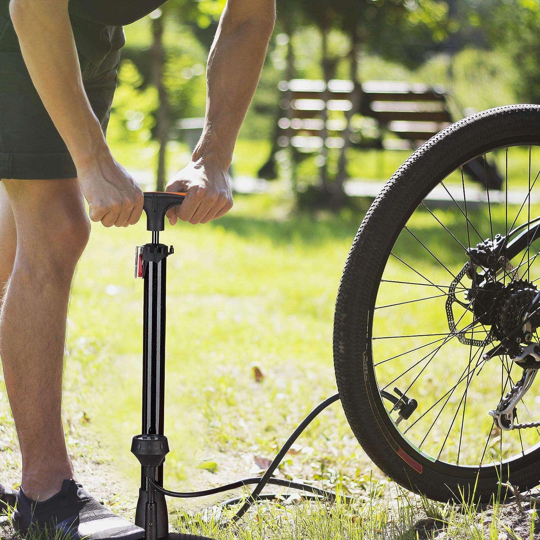 Relaxdays Bomba Bicicletas de Pie Universal con Manómetro, Doble ...