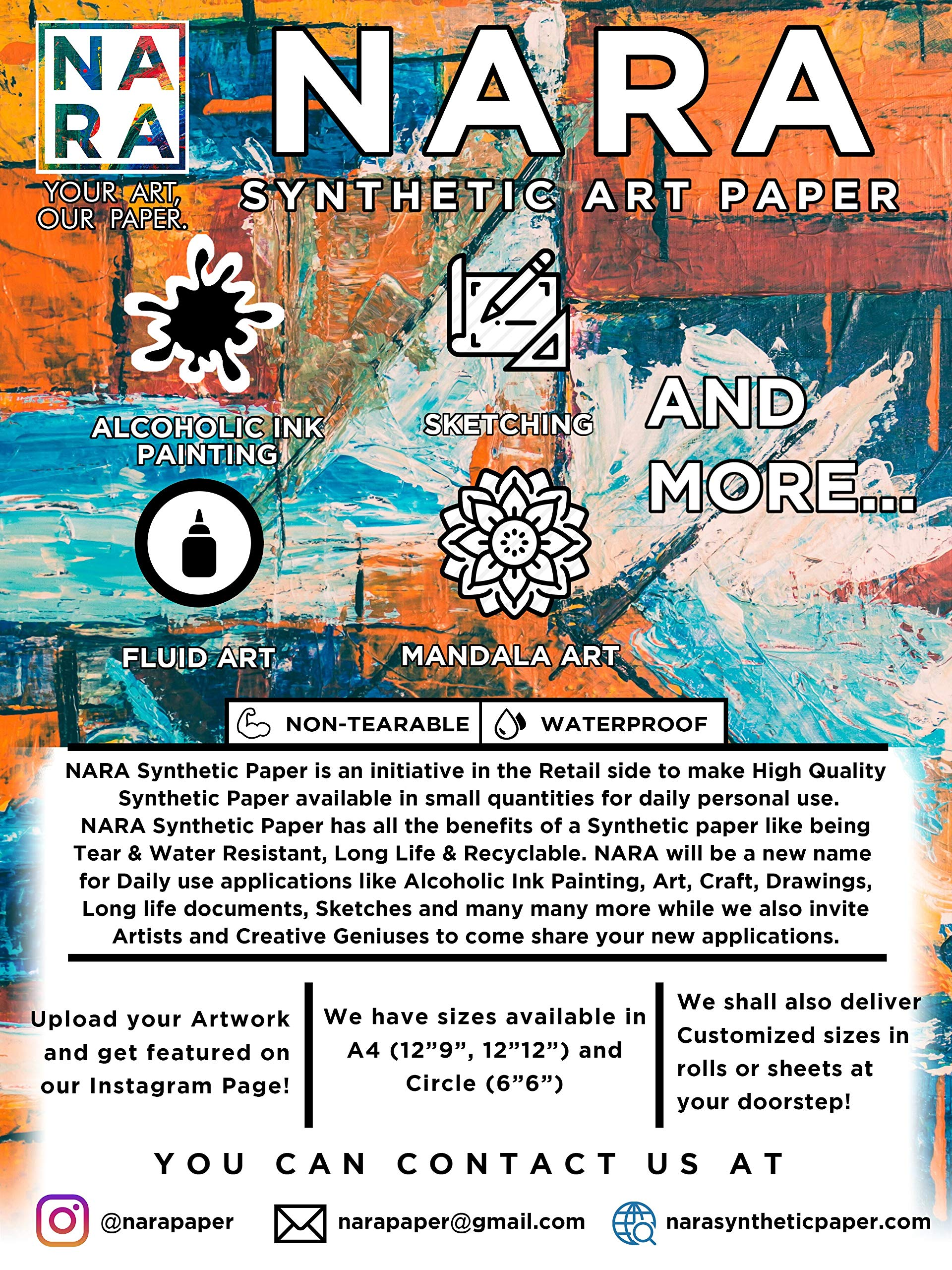NARA SYNTHETIC PAPER for Alcoholic Ink PAINTING-14.3mil(30''x40'') by NARA Synthetic Paper