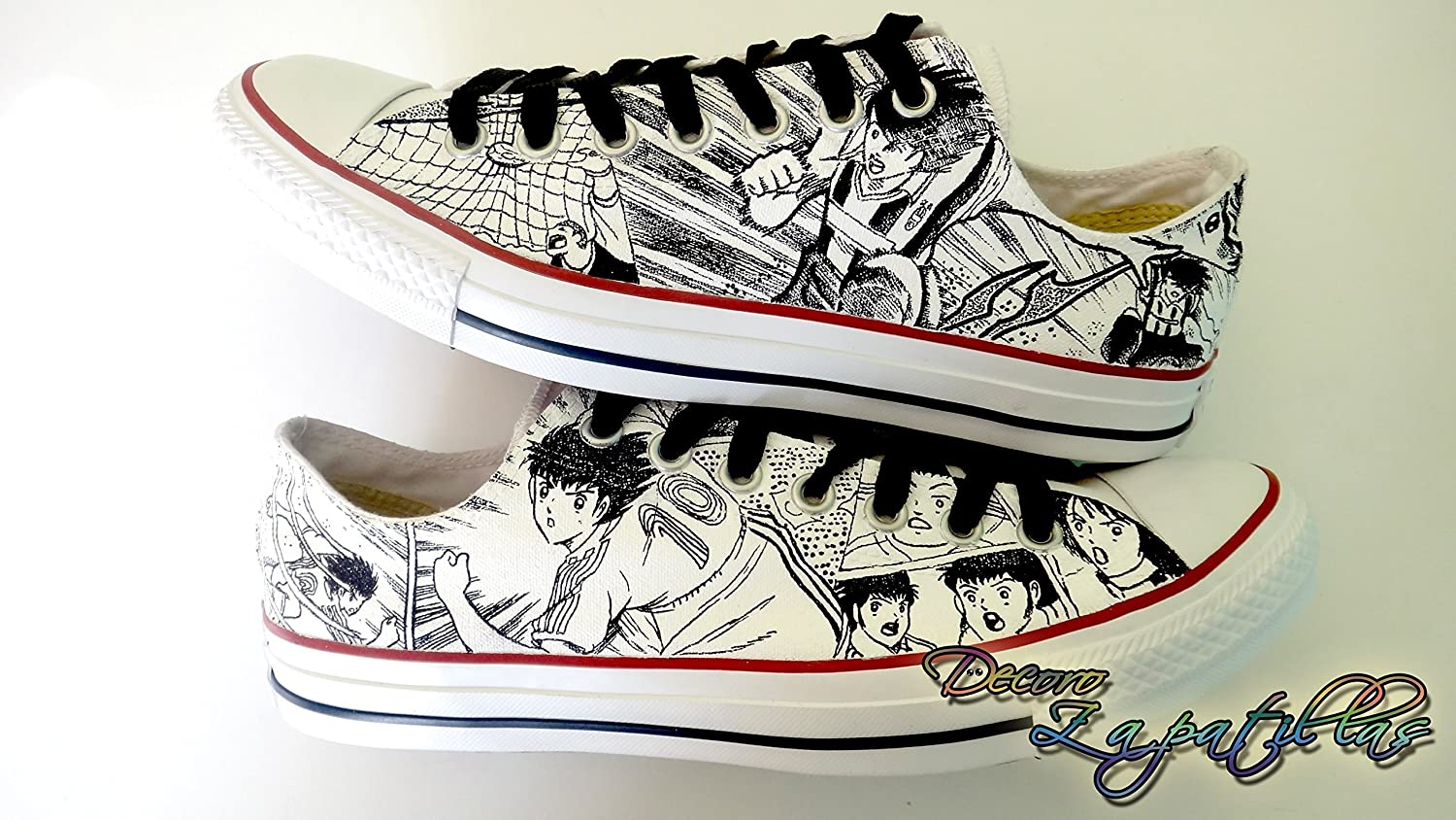 Black and white custom canvas shoes