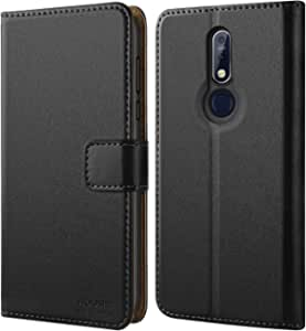 HOOMIL Nokia 7.1 Case, Premium Leather Case for Nokia 7.1 Phone Cover (Black)