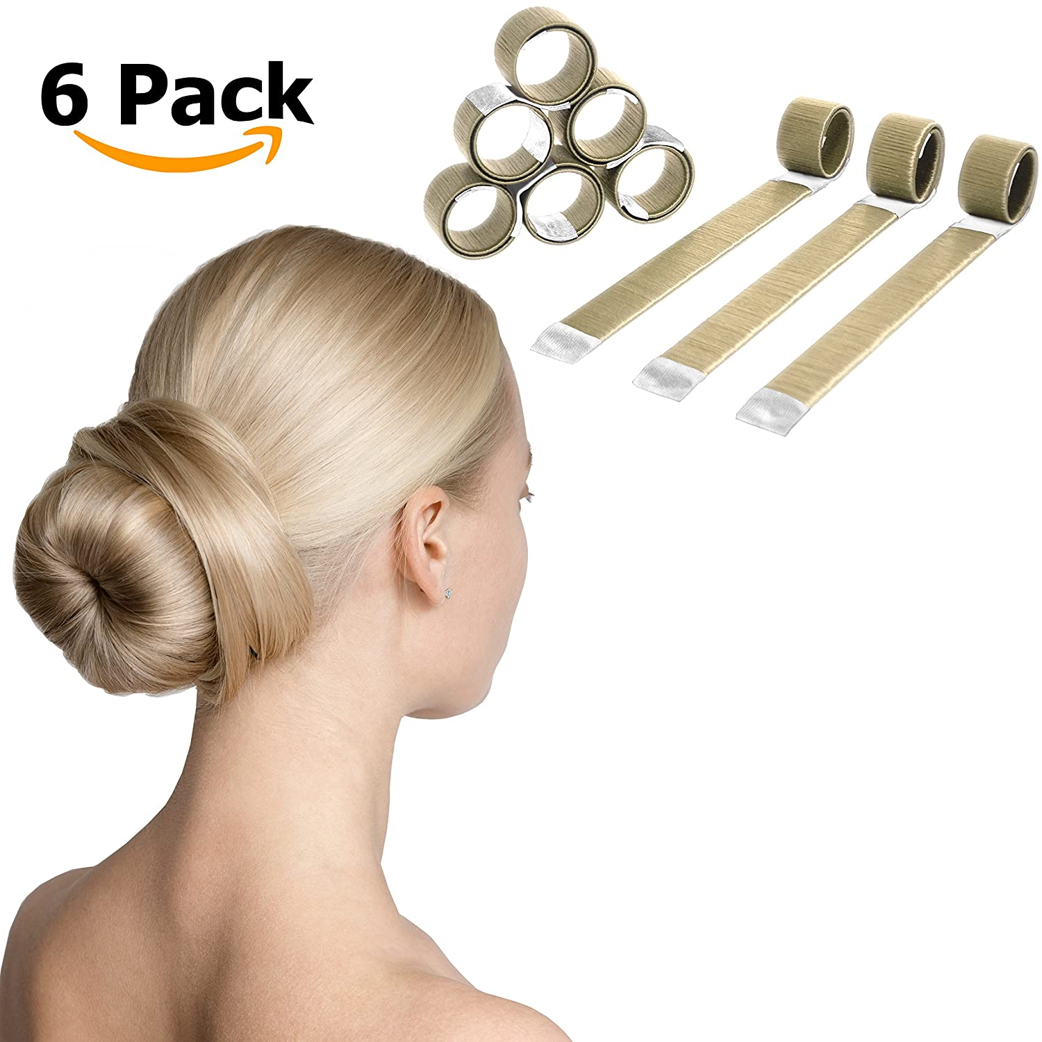 Magic Hair Bun Maker - 6 Pack - The Extra Strength Donut Crown Shaper (Blonde) The Canadian Economists 0322001A