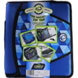 Case-it Mighty Zip Tab 3-Inch Zipper Binder, Printed Blue, Design may vary (Camouflage or Geometric)