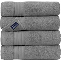 Hammam Linen 100% Cotton 27x54 4 Piece Set Bath Towels Cool Grey Super Soft, Fluffy, and Absorbent, Premium Quality…