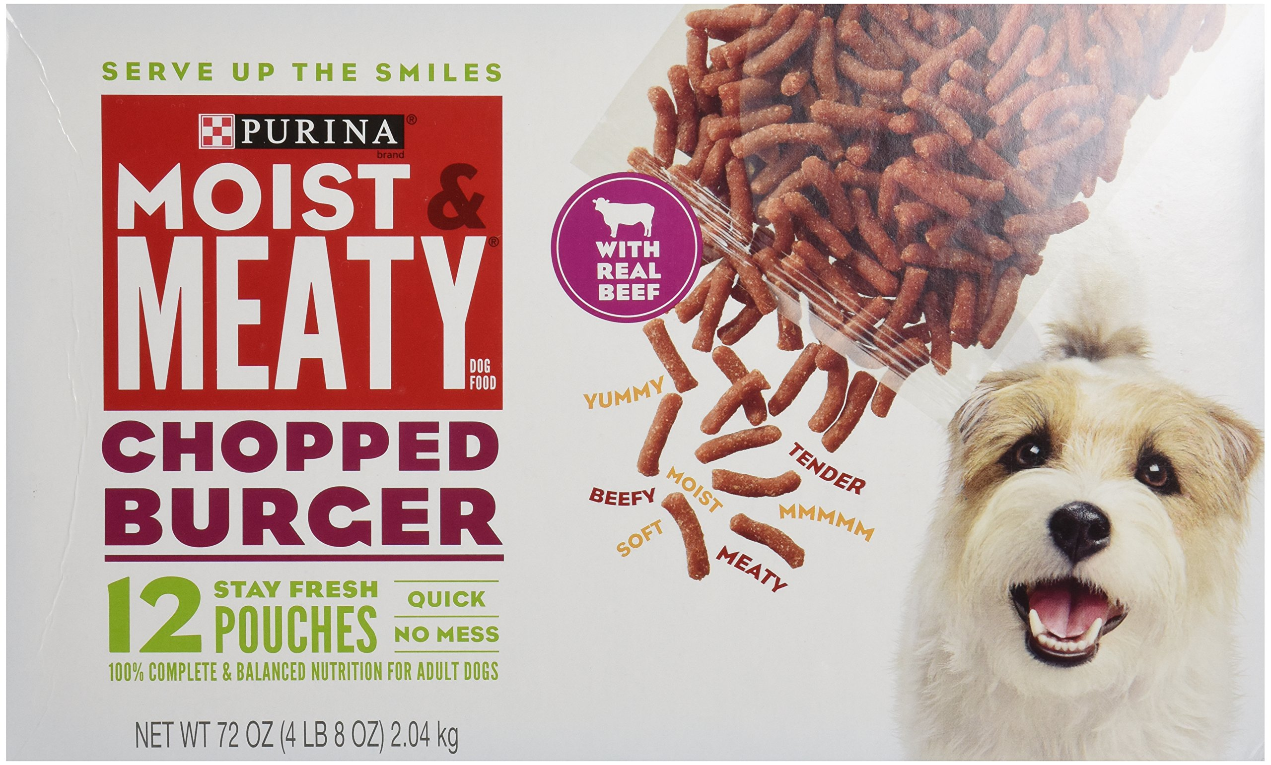 Purina Moist & Meaty Dog Food, Chopped Burger, 12 Pouches, 6 oz each