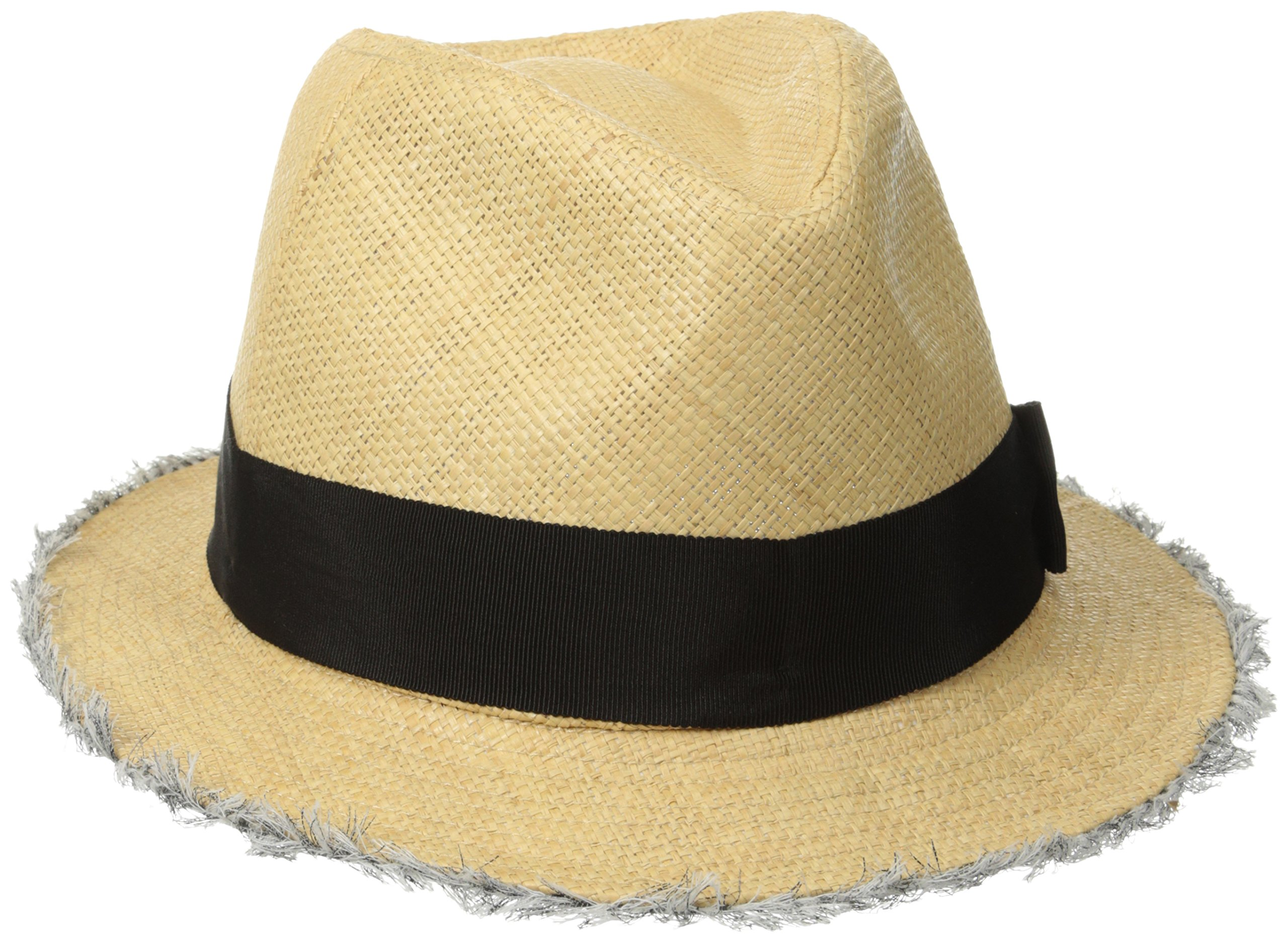 San Diego Hat Company Women's Raffia Fray Edge Panama Fedora with Ribbon Bow, Natural, One Size