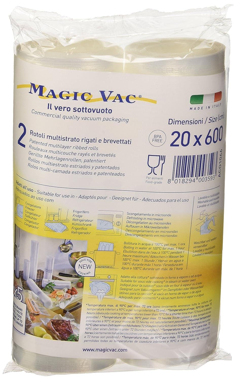 Magic vac ACO1066 - Pack de 2 Rollos, 20 cm x 6 m, Libres de BPA, se Puede Lavar, cocinar, Usar en Nevera, hervir, congelar y descongelar, Color ...