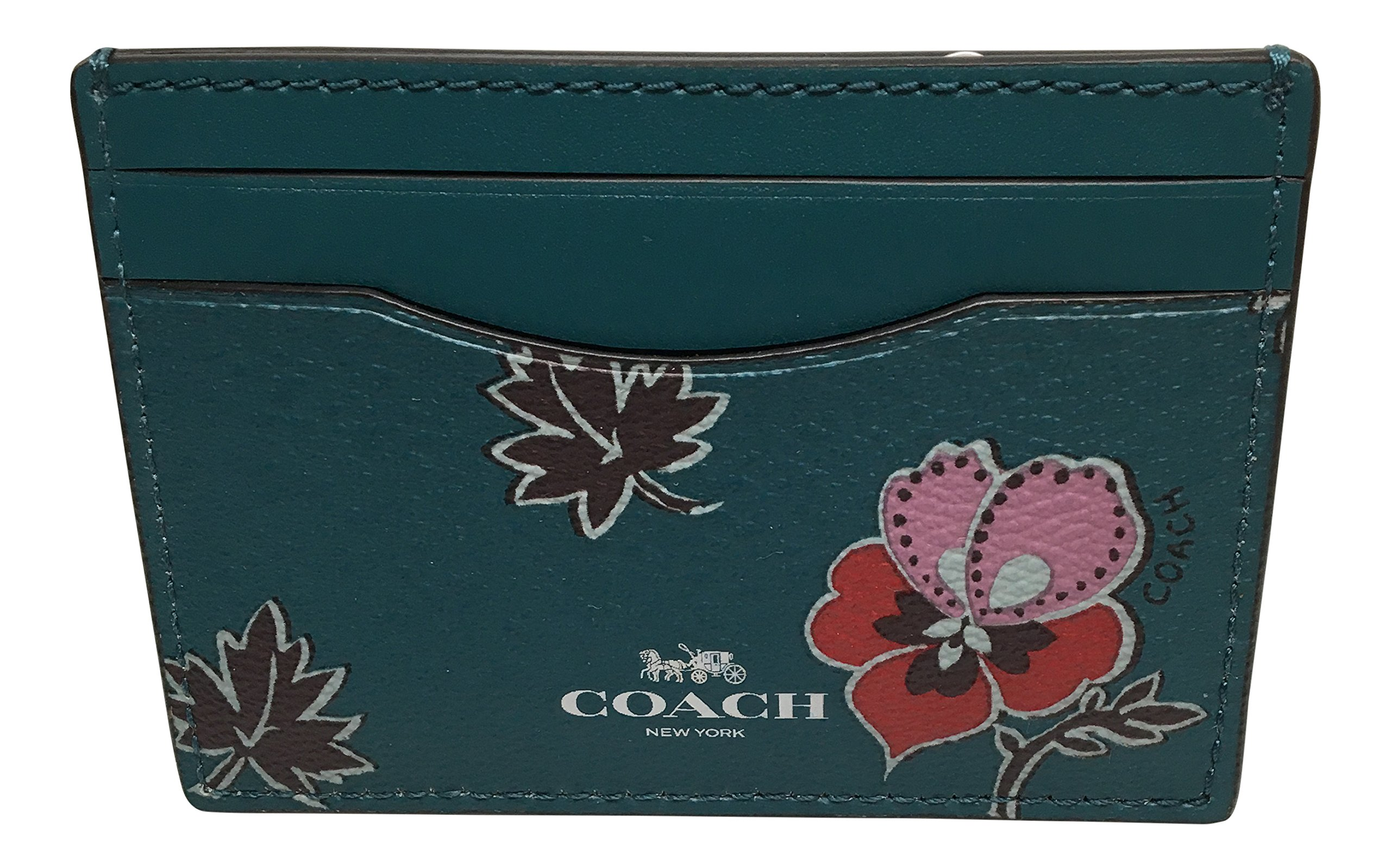 COACH F12773 WILDFLOWER PRINT COATED CANVAS FLAT CARD CASE Dark Teal