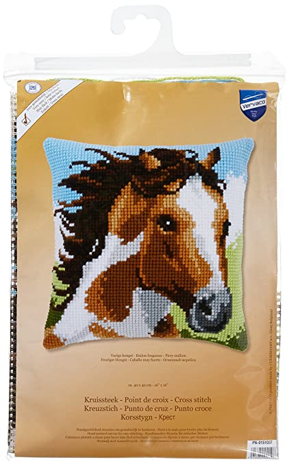 Amazon.com: Vervaco PN-0151037 Fiery Stallion Cushion Cross ...