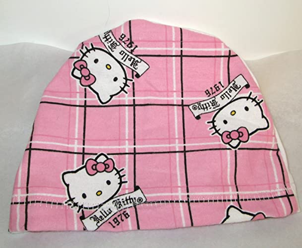 58d1ab5bb Image Unavailable. Image not available for. Color: Children's Hello Kitty  Pink Plaid Flannel Cap Chemo Hat Alopecia Head Cover Cancer Scarf