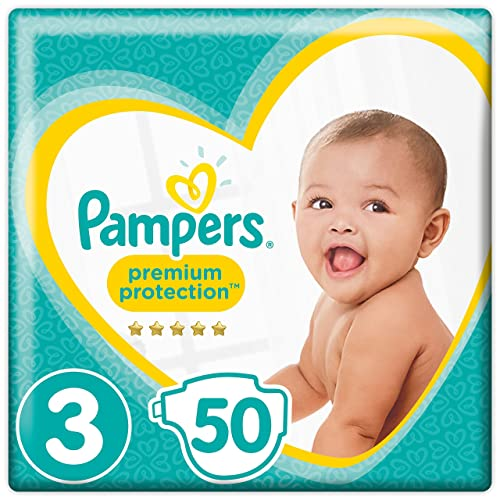 Pampers Premium Protection Size 3, 50 Nappies,   (6-10 Kg)  , Pack of 2