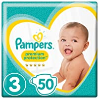 Pampers Premium Protection Size 3, 50 Nappies, (6-10/5-9 Kg), Pack of 2