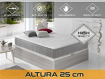 Dormi Premium Delux 25 - Colchón Viscoelástico , 90 x 190 x 25 cm, Algodón/Poliuretano, Blanco/Gris, Individual: Amazon.es: Hogar