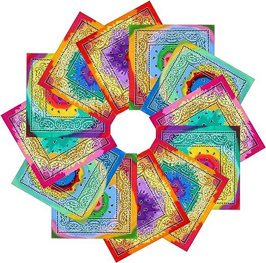 Classic Pocket Squares Handkerchief 12 Pieces Novelty Gradient Bandana 6 Color Multi-Purpose for Men and Women Double Sided Paisley Cotton Bandana