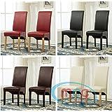 Lot de 2 chaises de salle-à-manger deluxe en simili-cuir à haut dossier terminé en volute, usage domestique ou restaurants [Noir*Marron*Crème*Rouge*] (Crème)