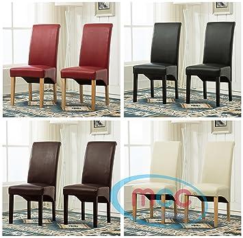 Lot de 2 chaises de salle-à-manger deluxe en simili-cuir à haut ...