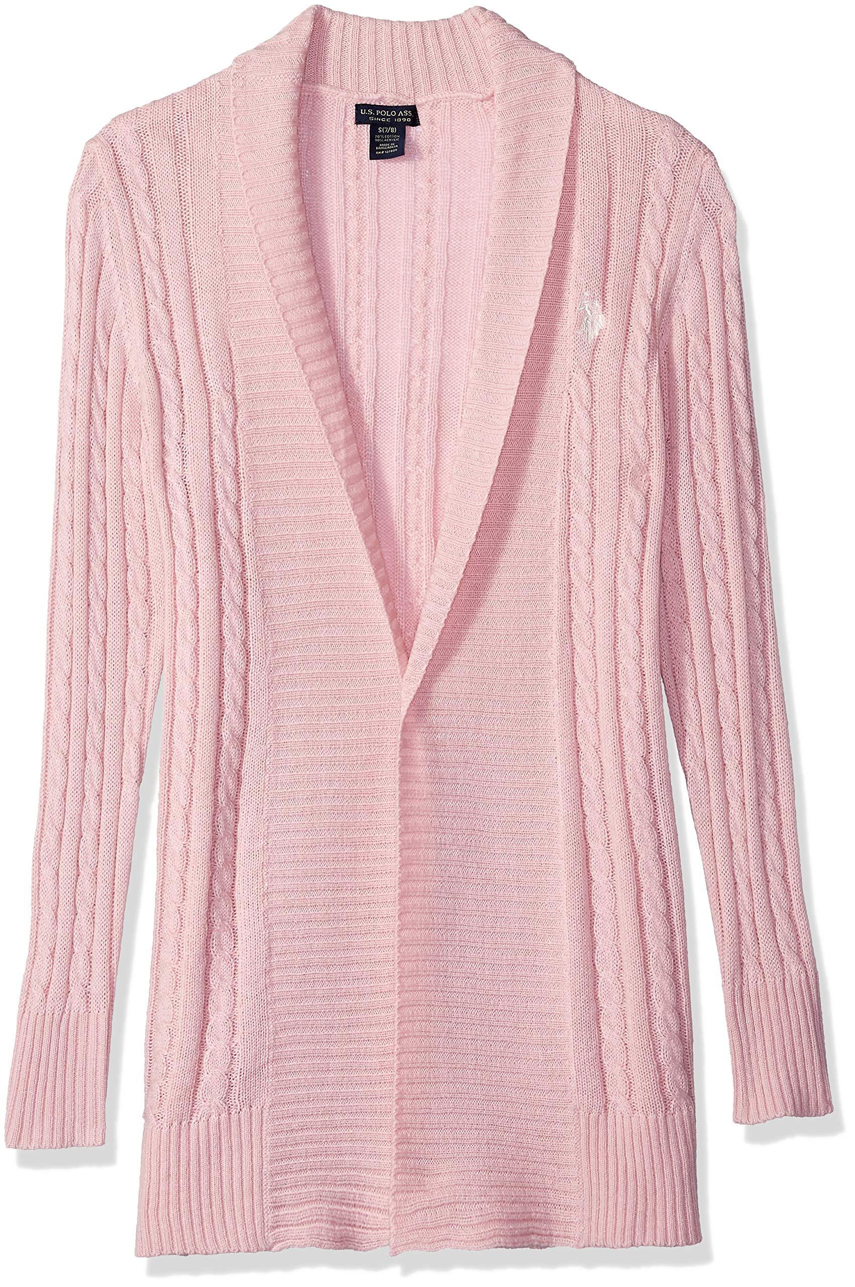 U.S. Polo Assn. Girls' Big Cardigan Sweater, Cable Knit Rose, 10/12