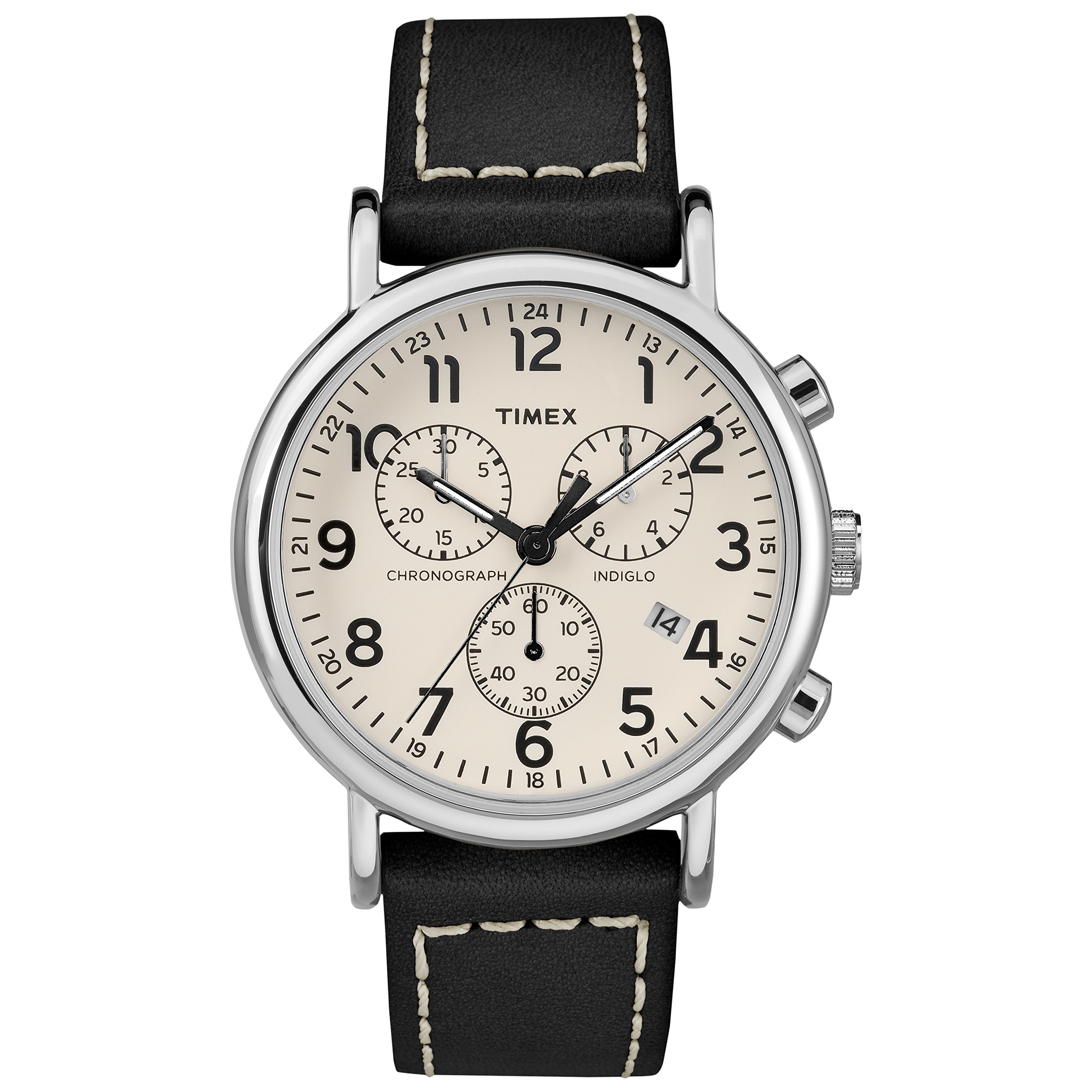 Timex Men's TW2R42800 Weekender Chrono Black/Cream Leather Strap Watch by Timex