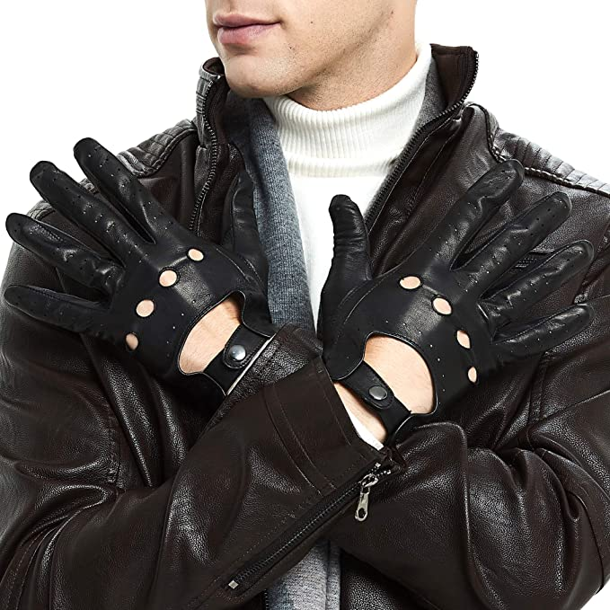 Color : Black Touch Screen, Size : L Agelec Leather Gloves Mens Thin Section Driving Breathable Car Driving Gloves Locomotive Single Sheepskin Motorcycle Mitten