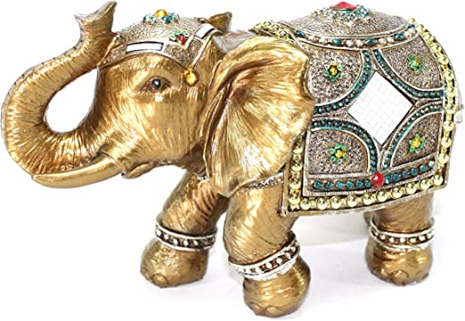 "Feng Shui 9/"" Large Gold Elegant Elephant Trunk Statue Lucky Figurine House Warmi"