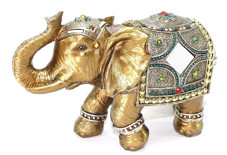 Amazoncom Feng Shui 9 Large Gold Elegant Elephant Trunk Statue