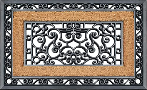A1 HOME COLLECTIONS A1HC108NW A1HC Rubber Grill and Coir Doormat, 23 X35 , 23 X 35 , Iron Gate Black