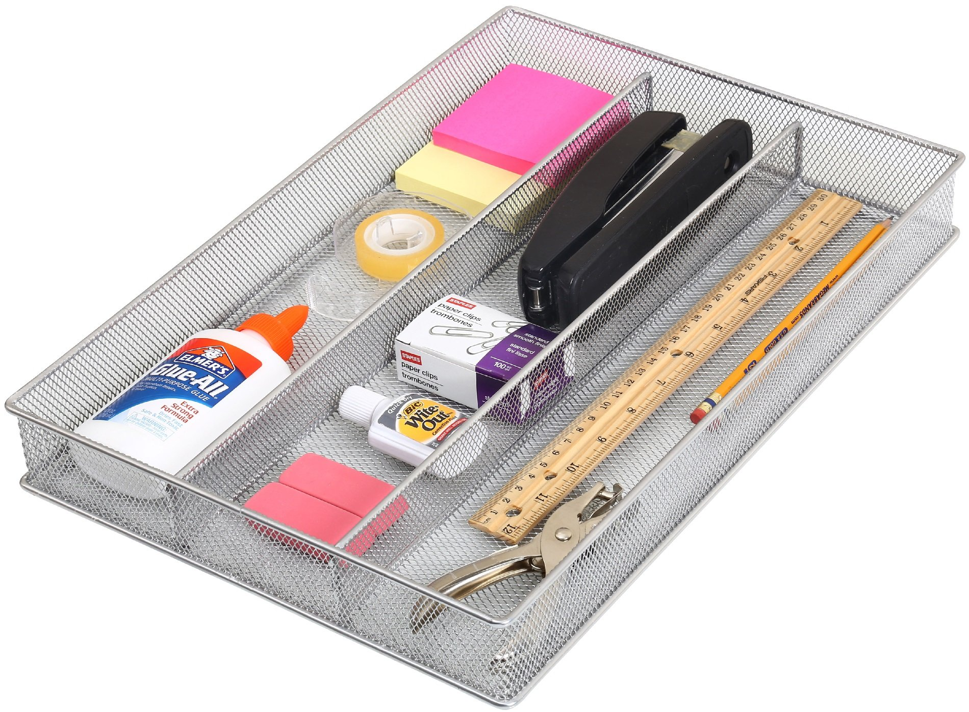 Ybm Home Silver Mesh Cutlery Holder In-drawer Utensil Flatware Organizer/tray Size Width 11'' Length 16'' Height 2'' 1150 (3-compartment)