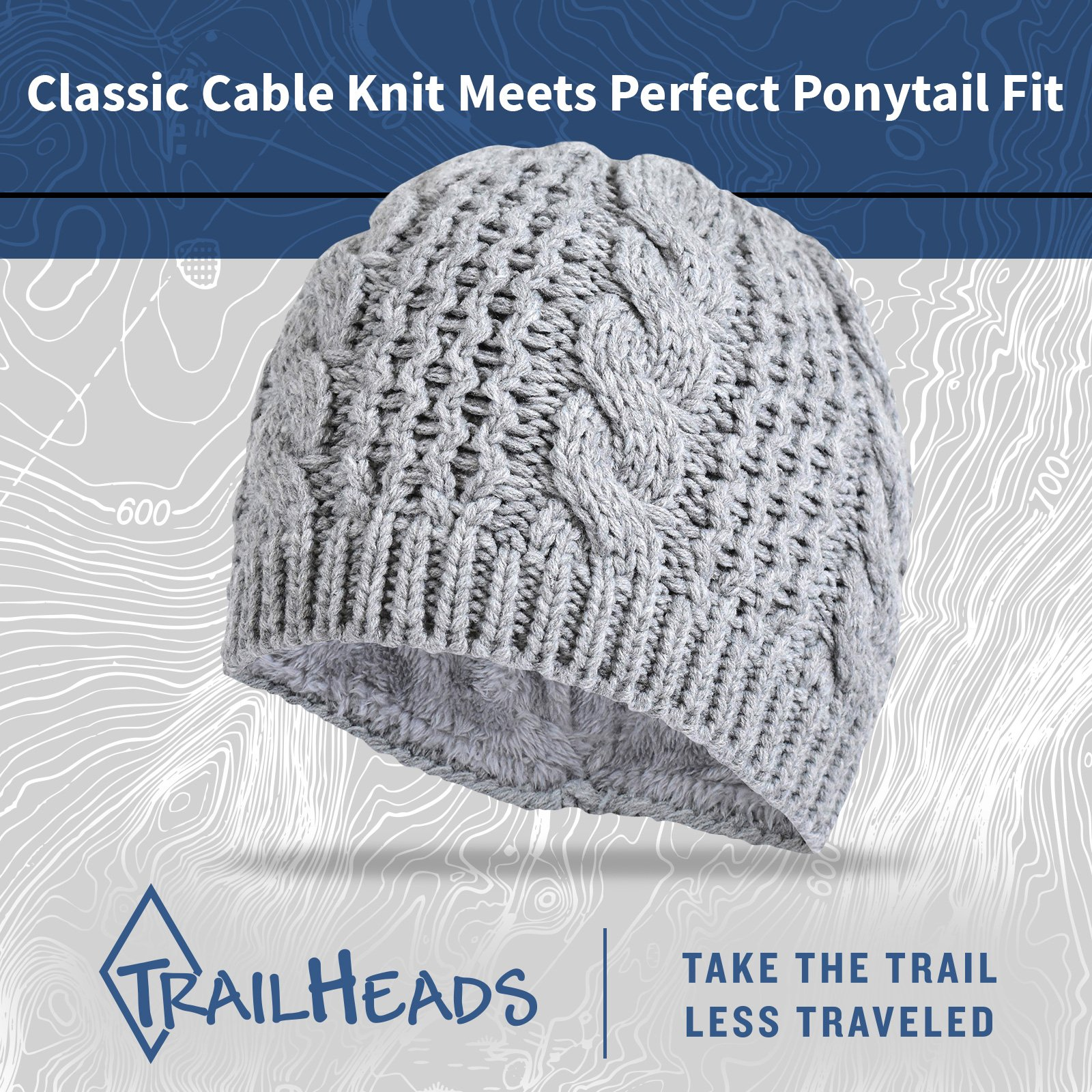 TrailHeads Women's Cable Knit Ponytail Beanie - storm grey by TrailHeads (Image #5)