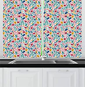 Ambesonne Leaves Kitchen Curtains, Mother Nature Petals Seasonal Evergreen Poppy Carnation Bluebells Garden Fern Print, Window Drapes 2 Panel Set for Kitchen Cafe, 55 W X 39 L Inches, Multicolor
